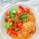 overhead view of homemade Olive Garden Venetian Apricot Chicken on a plate