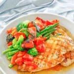 copycat Olive Garden Venetian Apricot Chicken on a plate