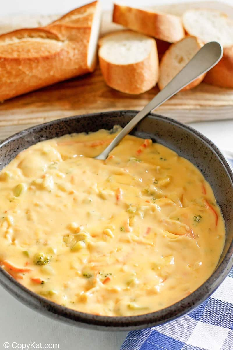 a bowl of homemade Panera broccoli cheddar cheese soup
