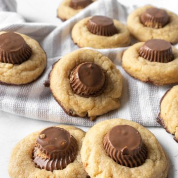 peanut butter cup cookies and a kitchen towel
