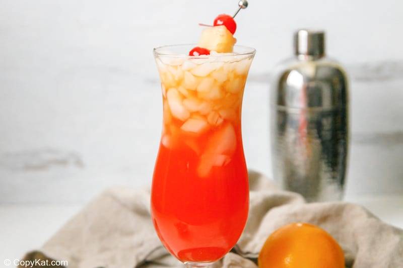 homemade Red Lobster Mai Tai garnished with pineapple and cherries