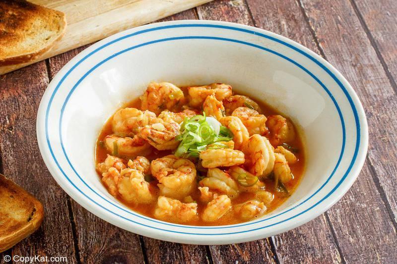 a bowl of homemade Ruth's Chris barbecue shrimp