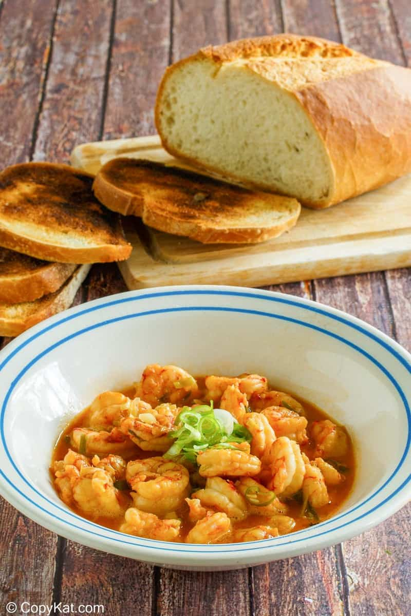 homemade Ruth's Chris Barbecue Shrimp in a bowl