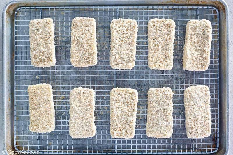 breaded mozzarella ready for deep frying