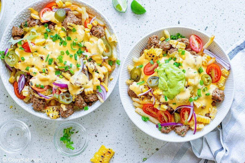 homemade Taco Bell Nacho Fries BellGrande in two bowls