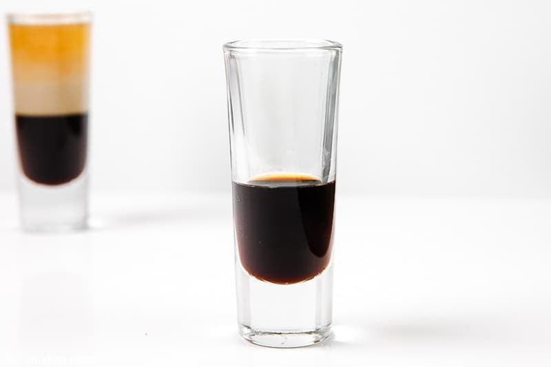 Kahlua coffee liqueur in a shot glass