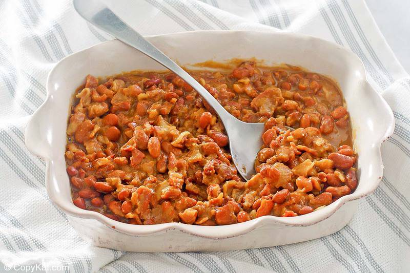 barbecue baked beans in a serving dish