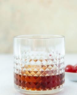 Black Russian drink in a lowball glass