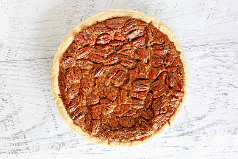 overhead view of a chocolate pecan pie