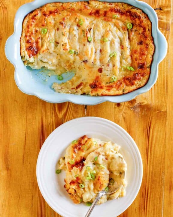 baked potato casserole in a dish and on a plate