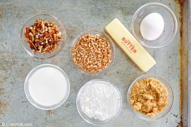 Ingredientes de la torta de barra de Heath