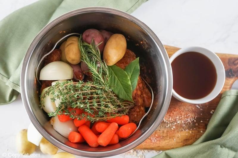 tri tip roast ingredients in an Instant Pot before pressure cooking
