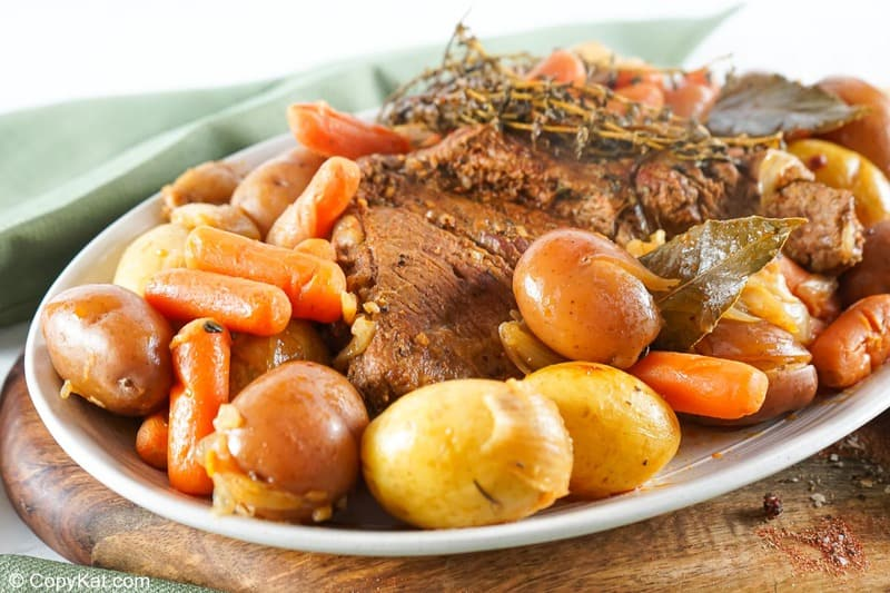 Instant Pot tri tip roast, carrots, and potatoes on a platter