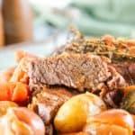 Instant Pot tri tip roast slice, potatoes, and carrots