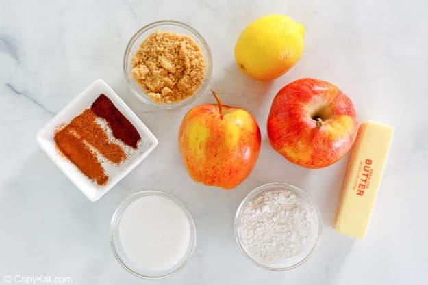 Ingredientes de tarta de manzana a la antigua