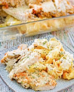 homemade Olive Garden Asiago Torgelloni Alfredo with chicken on a plate