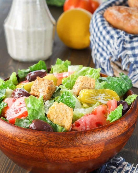 homemade Olive Garden salad in a wood bowl