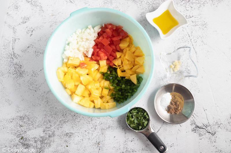 fruit mixture for pineapple mango salsa