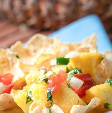 pineapple mango salsa on tortilla chips