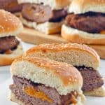 stuffed burgers with cheddar cheese