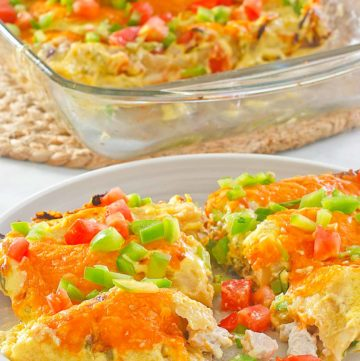 turkey enchiladas on a plate and in a glass baking dish