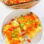 Vista aérea de enchiladas de pavo en un plato y en una fuente para hornear