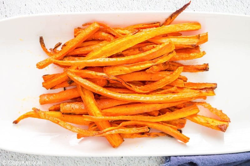 air fried carrot sticks on a plate