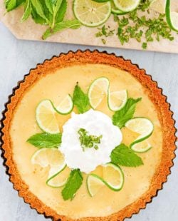 overhead view of homemade Anthony's key lime pie