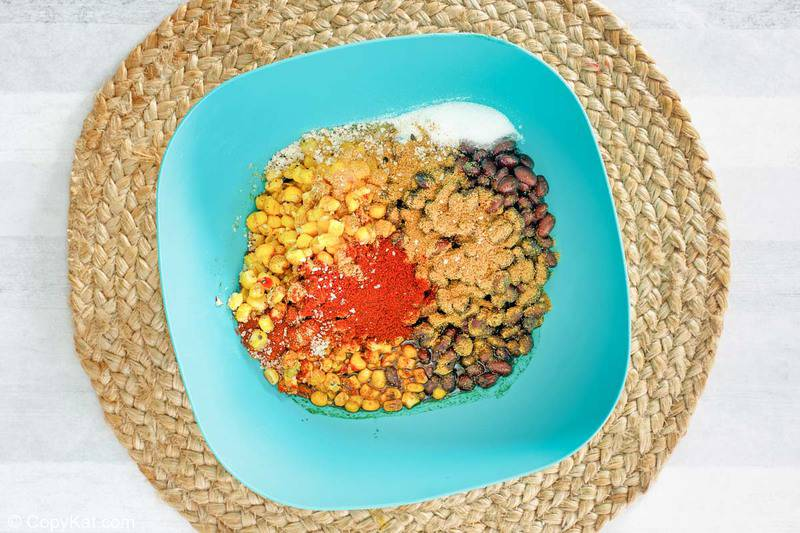 black bean and corn salad ingredients in a bowl