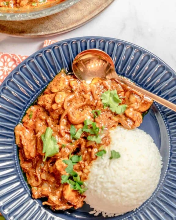 overhead view of butter chicken and rice in a bowl