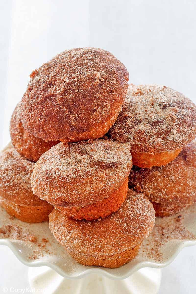 a stack of donut muffins