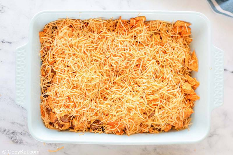 Dorito casserole before being baked