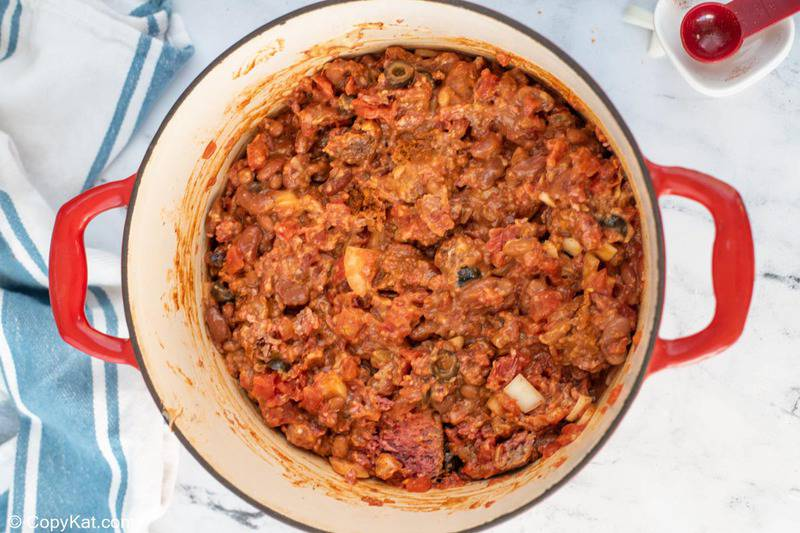 cooked meat and bean mixture for Dorito casserole