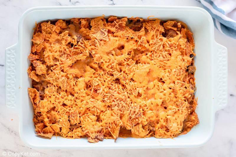 Dorito casserole in a baking dish