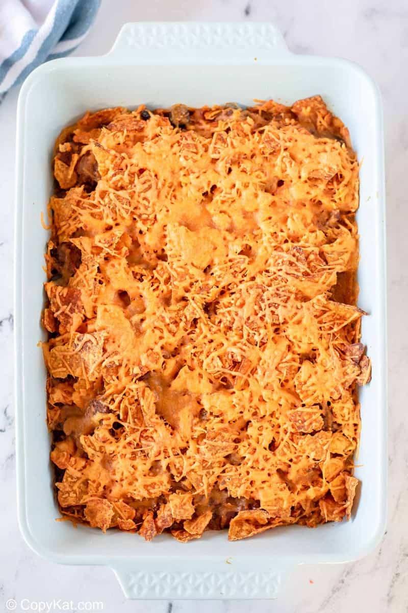 overhead view of Dorito casserole in a baking dish