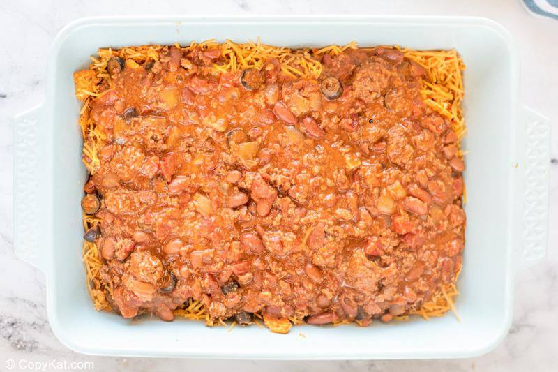 second meat and bean layer in Doritos casserole