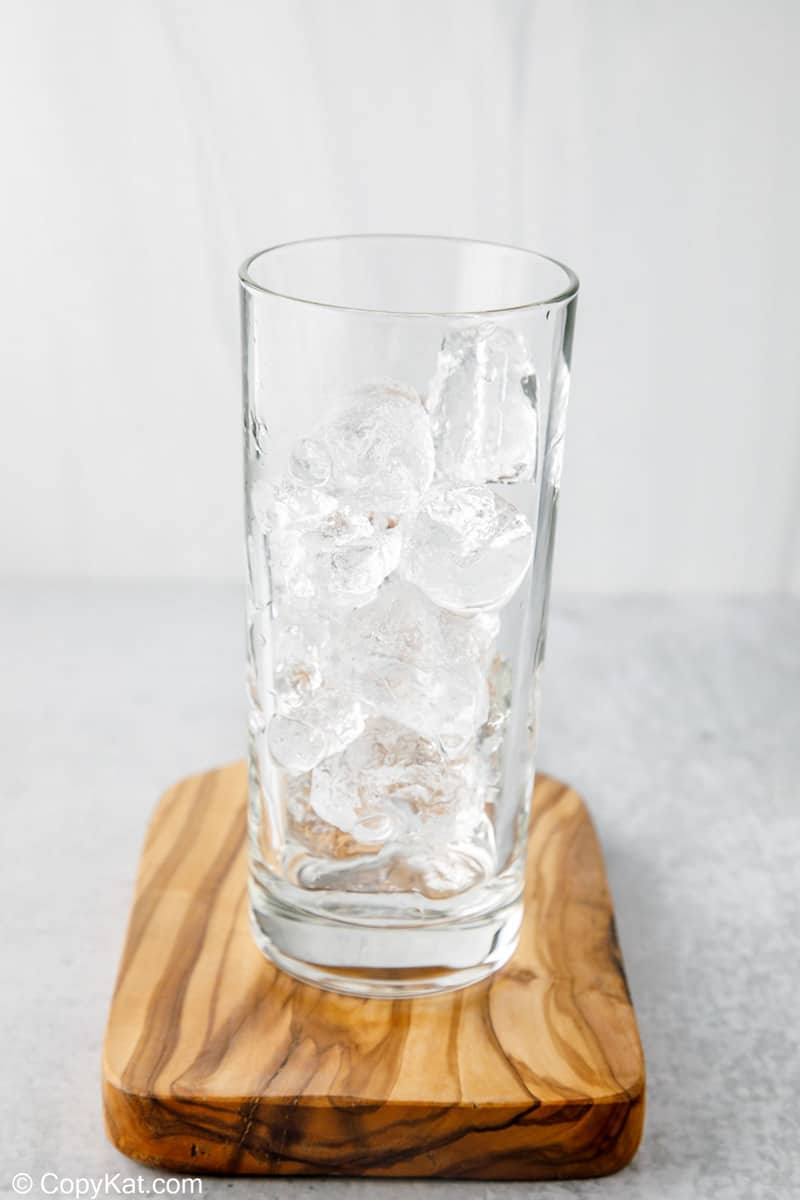 ice cubes in a highball glass