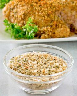 homemade Italian seasoned bread crumbs and a platter of breaded chicken