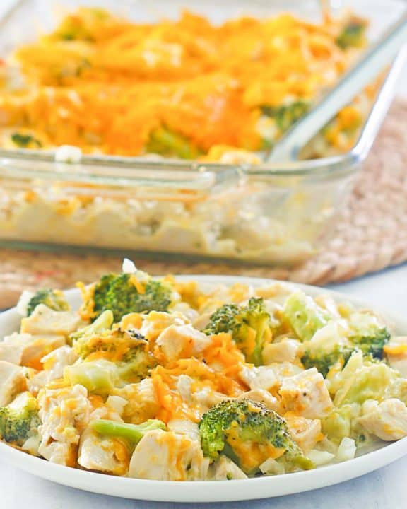 chicken divan casserole on a plate and in a baking dish