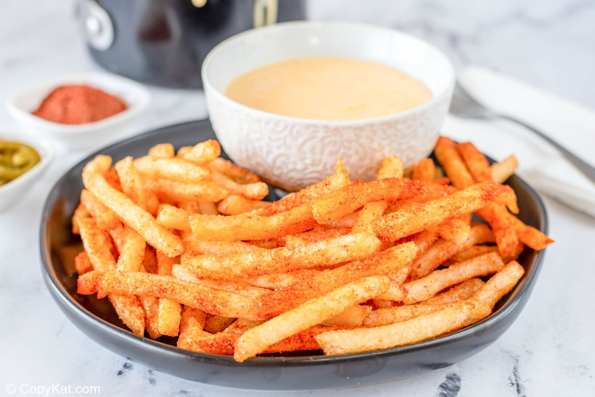 homemade Taco Bell nacho fries and a bowl of cheese sauce
