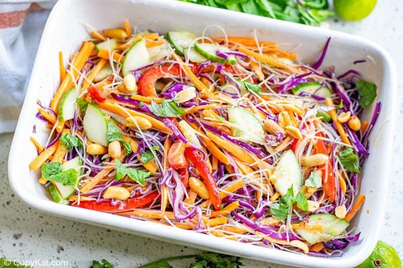 Thai noodle salad in a rectangular dish