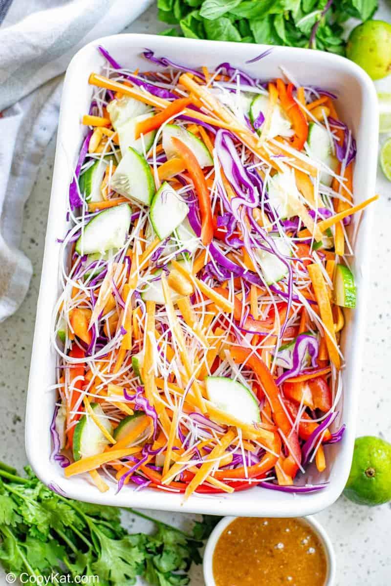 Thai noodle salad in a serving dish