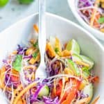 Thai noodle salad and a fork in a bowl