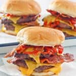 Three homemade Wendy's baconator burgers