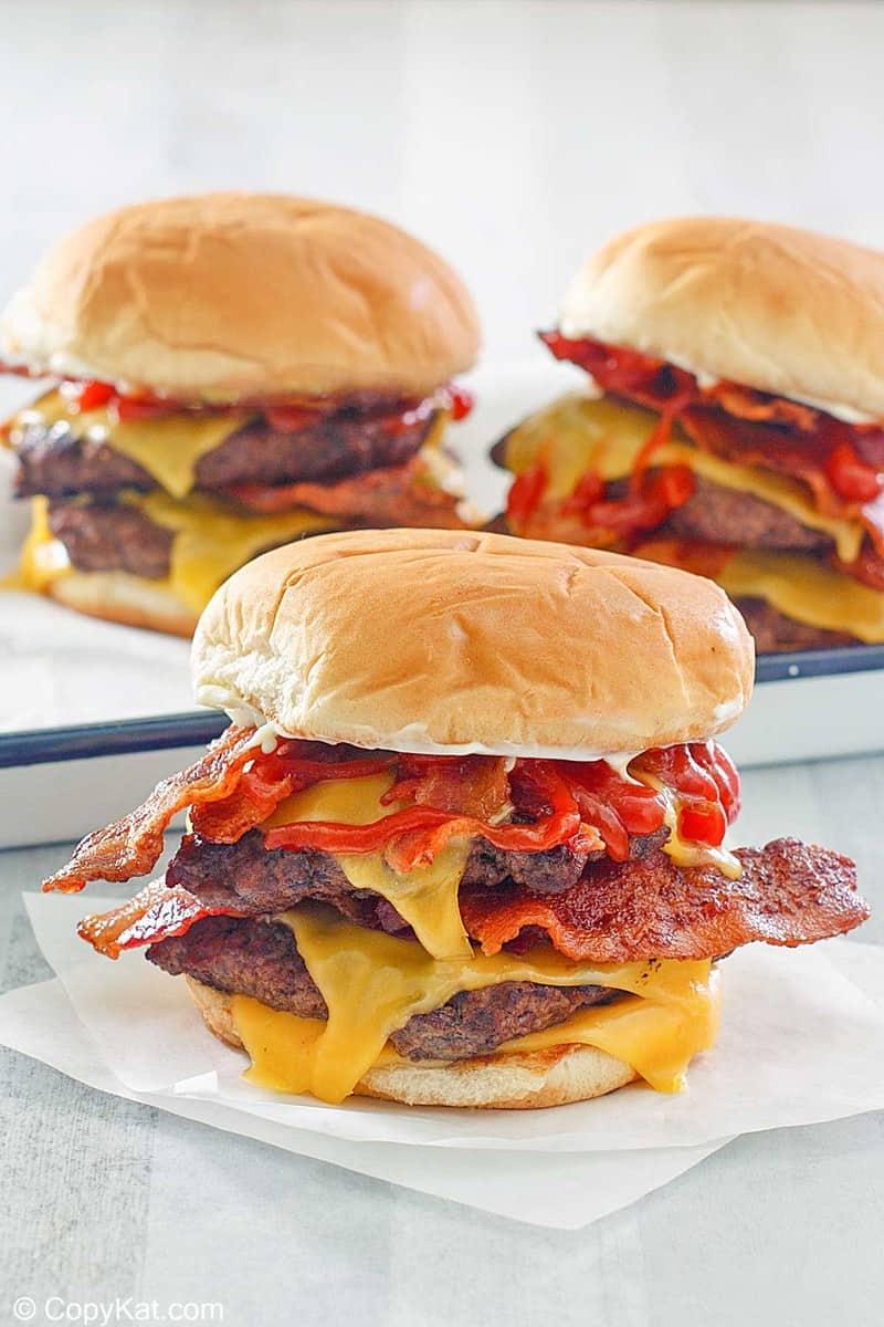 Three homemade Wendy's baconator burgers
