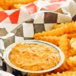 homemade Whataburger creamy pepper sauce in a bowl and French fries