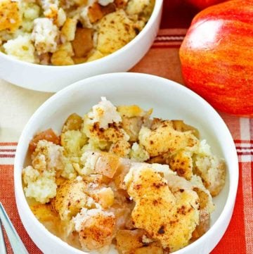 two apples and two bowls of Bisquick apple cobbler