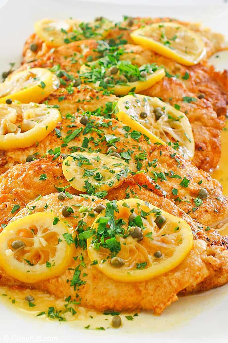 chicken francese on a platter