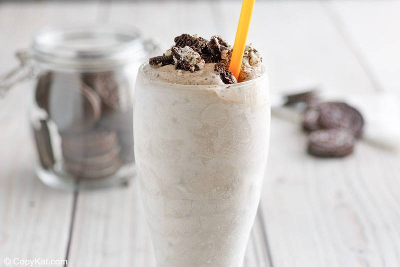 oreo blizzard and oreo cookies in a cookie jar