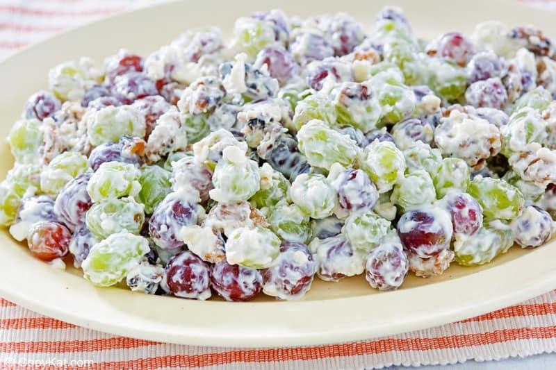grape salad with walnuts on a platter